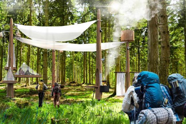 Hotel bez ścian w środku lasu