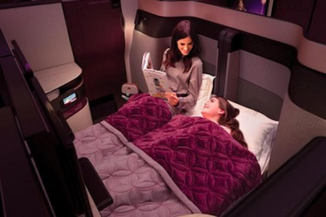 Double beds in an airplane