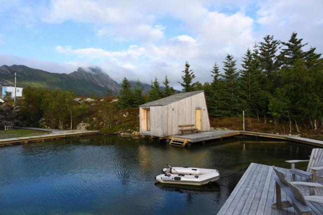 Malowniczy kompleks u wybrzeży Norwegii