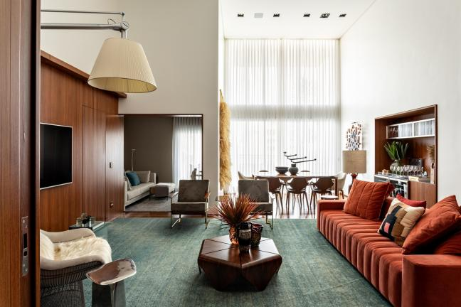 Projekt salonu z podwójnym sufitem w Terracote Appartment w Sao Paulo