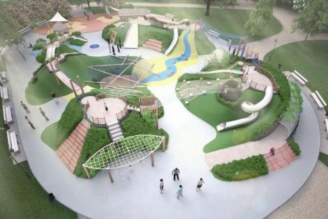 Zielony plac zabaw w Warszawie