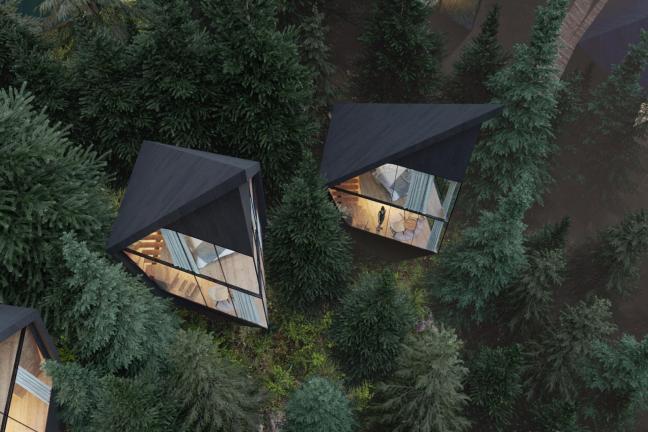 Unusual cabines in the Italian Dolomites