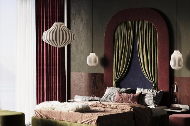 Łoże Alice projektu Katarzyny Jasyk w buduarowej sypialni