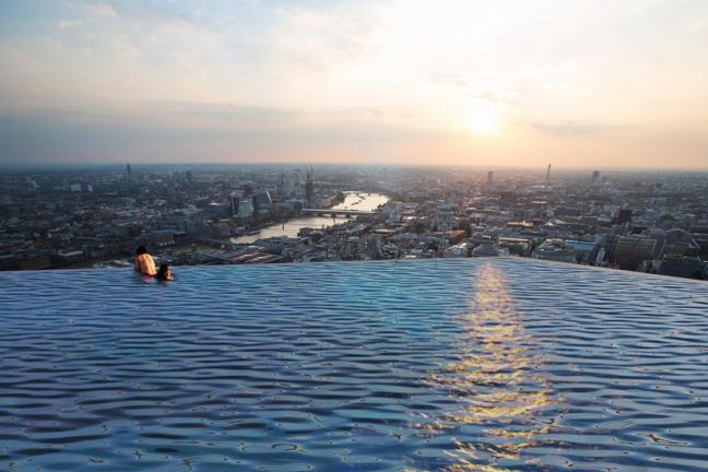 Przeźroczysty basen na dachu wieżowca