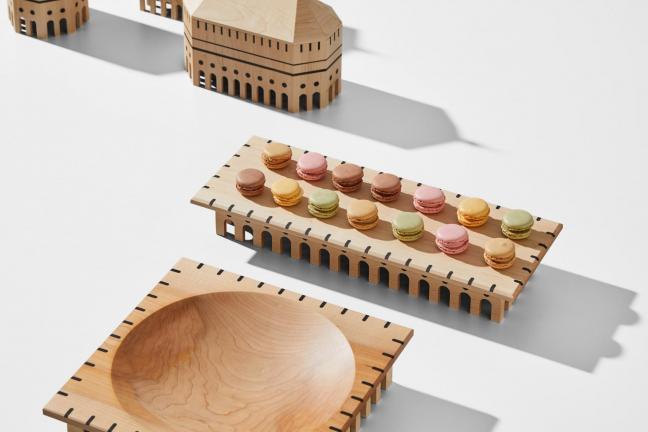 Zastawa stołowa, która przypomina budynki