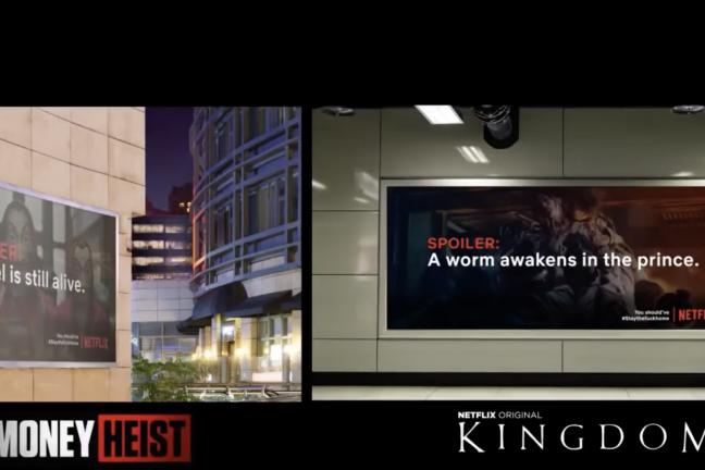 Billboardy ze spoilerami seriali zachętą do zostania w domu
