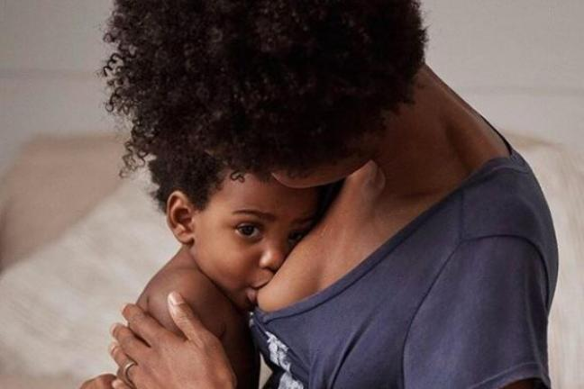 A breast-feeding mother in the GAP campaign