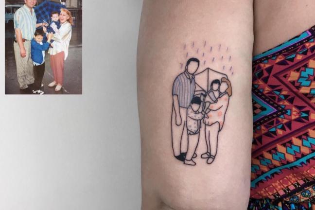 Zdjęcia z dzieciństwa na tatuażu