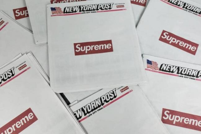 Logo Supreme na pierwszej stronie New York Post