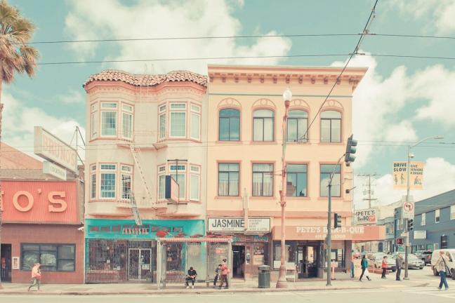 San Francisco in pastel colors