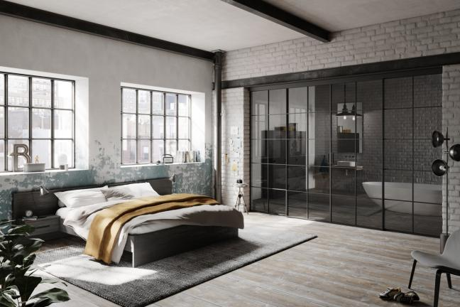 Szklane ścianki i dyskretne drzwi