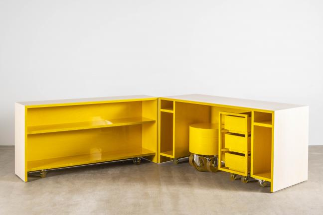 A desk in a cubicle