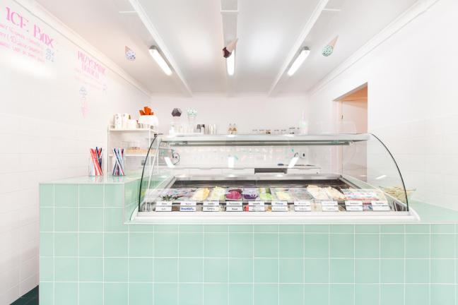 Ice cream shop in pastels in the southern Poland