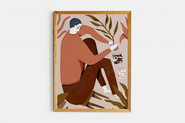 Mężczyzna przesadzający roślinę - ilustracja