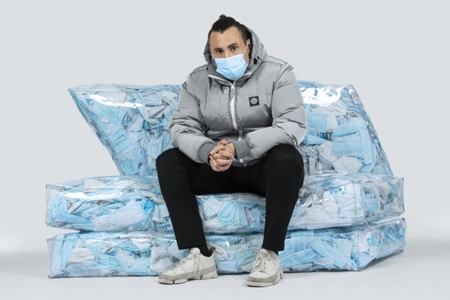 A couch made of used masks
