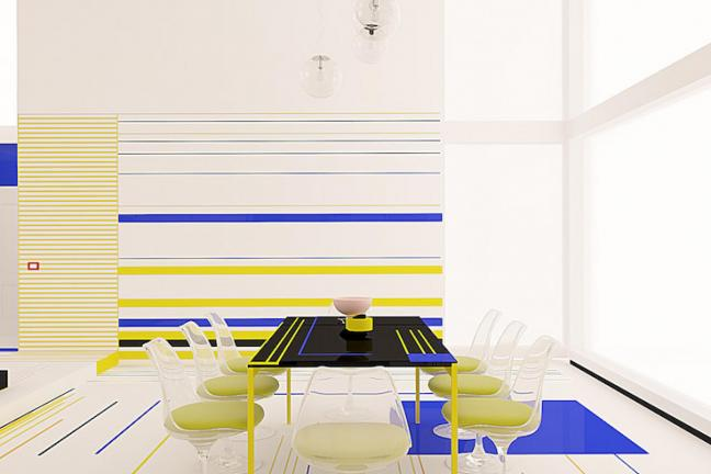 A flat inspired by the art of Mondrian