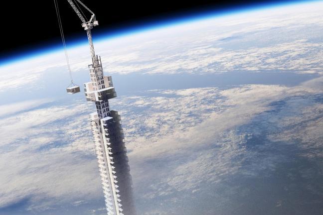 Wieżowiec zawieszony na asteroidzie