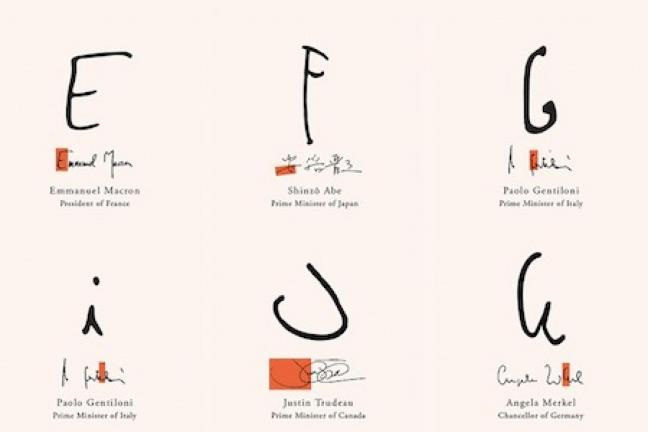 Font wzorowany na podpisach światowych liderów